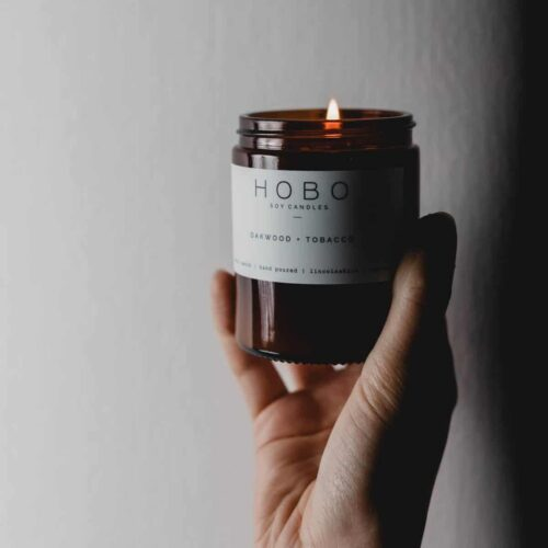 Oakwood & Tobacco Scented Candle by Hobo Soy Candles -3