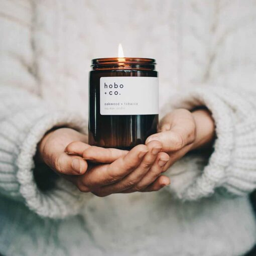 Oakwood & Tobacco Scented Candle by Hobo & Co.