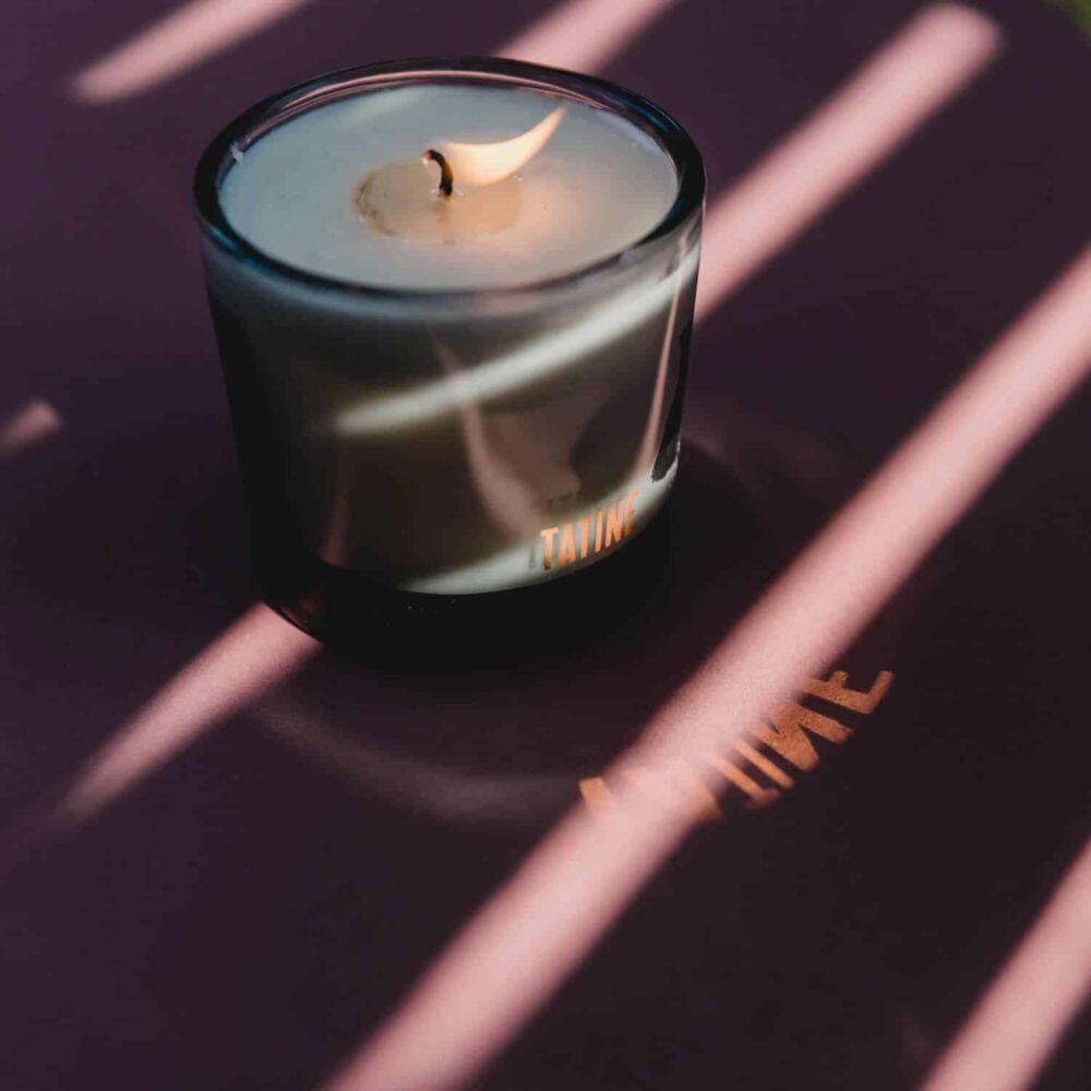 Purple Flowers Votive Candle by Tatine