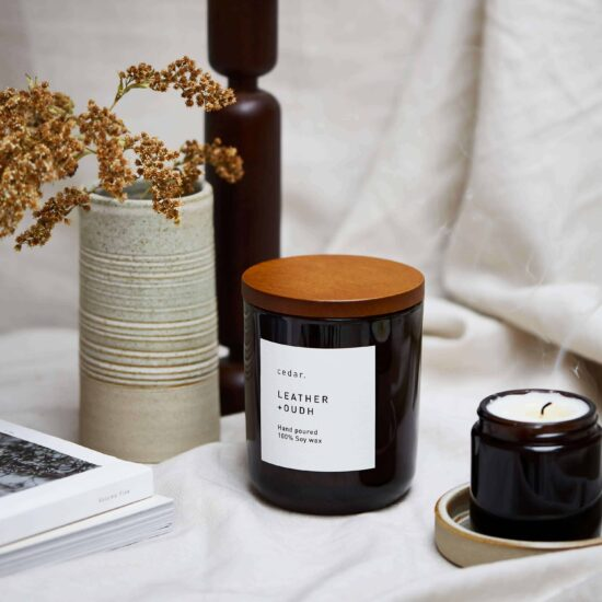 Leather + Oudh Scented Candle by Cedar