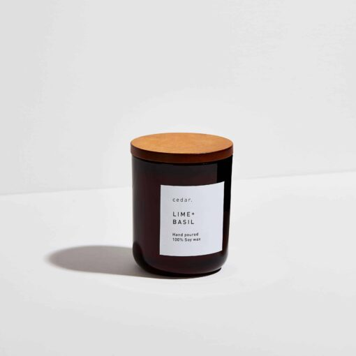 Lime + Basil Scented Candle by Cedar