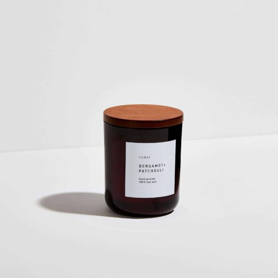 Bergamot + Patchouli Scented Candle by Cedar